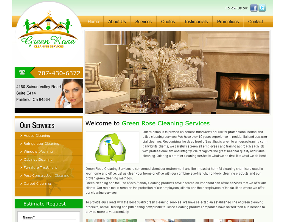 Thumbnail Image Green Rose Professional House Cleaning Company Website Design